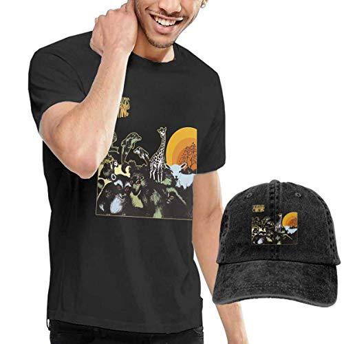 Baostic Herren Kurzarmshirt Men's The Distillers Coral Fang T Shirt and Washed Denim Baseball Dad Cap Black
