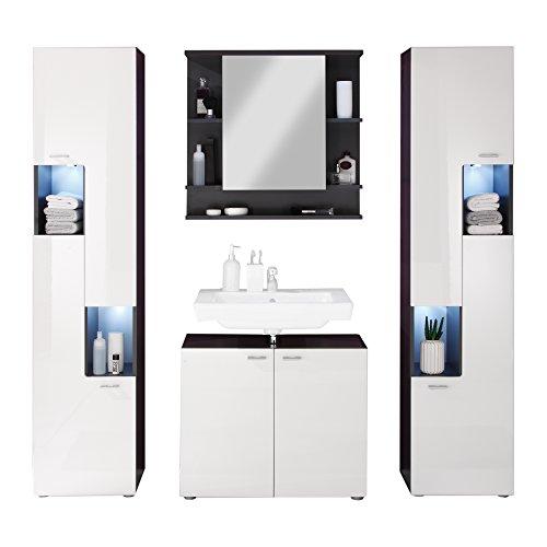 trendteam Badezimmer 4-teilige Set Kombination Tetis, 184 x 182 x 35 cm in Korpus Graphit ( Dunkelgrau), Front Hochglanz Weiß mit viel Stauraum