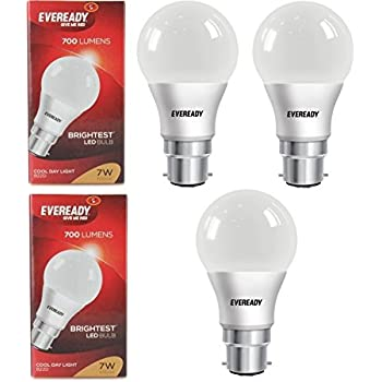 Eveready Base B22D 7-Watt LED Bulb (3 Piece Offer Pack)