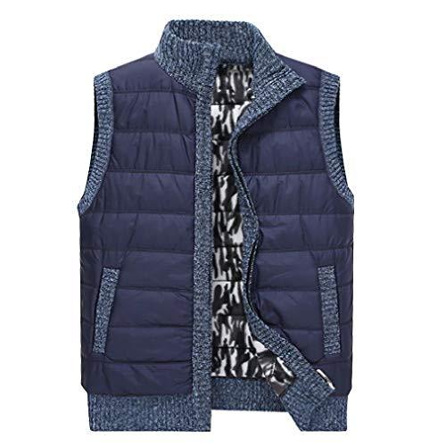 VITryst Men's Full Zip Knit Warm Sleeveless Thicken Relaxed Fall Winter Vest Blue XL Stripe Down Vest