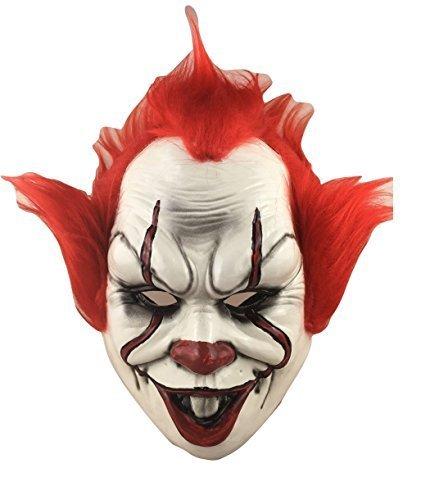ennywise - The Killer Clown Deluxe Hartplastik Maske mit befestigter Haare Das Gesicht Bedeckend & elastischer band - Kostüm verkleiden Outfit It Film Halloween Horror Zubehör (Clown Kostüme Band)