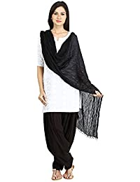 Funfabrics Women Cotton Solid Sem Free Size Plain Black Patiala Salwar Dupatta Set