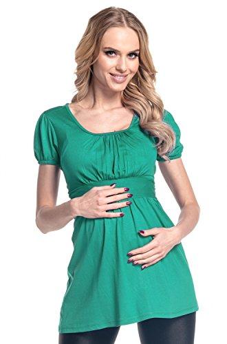 Happy Mama. Damen Umstands-Top Empire-Taille. Schwangerschafts Shirt. 408p (Teal, EU 36, S) -