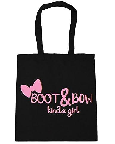 HippoWarehouse Boot and bow kinda girl Tote Shopping Gym Beach Bag 42cm x38cm, 10 litres