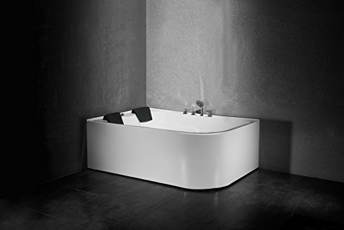 Luxus 2 Personen Whirlpool Badewanne Eck Spa Massagedüsen Nackenkissen Thermostat Heizung 170 * 120 cm (link-ohne Heizung)