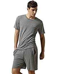 QianXiu Été Hommes Rayé Vêtements de nuit à manches courtes T-Shirt Top & Short Pajama Ensemble de pyjama classique