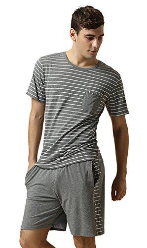 Sommer Streifen Schlafanzüge kurzer männer Modal Baumwoll Nachtwäsche Set Kurze àrmel Set Männer Pyjamas, Grey, XL -