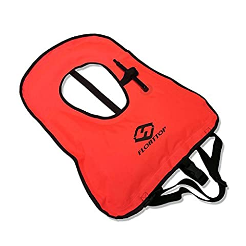 FLOATTOP Adult Inflatable Snorkel Vest Life Jacket For Snorkeling Surfing Swimming Boating Kayaking Fishing Rafting and Floating (Red)
