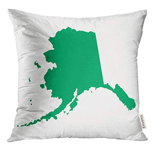 Ntpclsuits Throw Pillow Cover Green Abstract Map Alaska America Arctic Bay Bering Decorative Pillow Case Home Decor Square 18x18 Inches Pillowcase