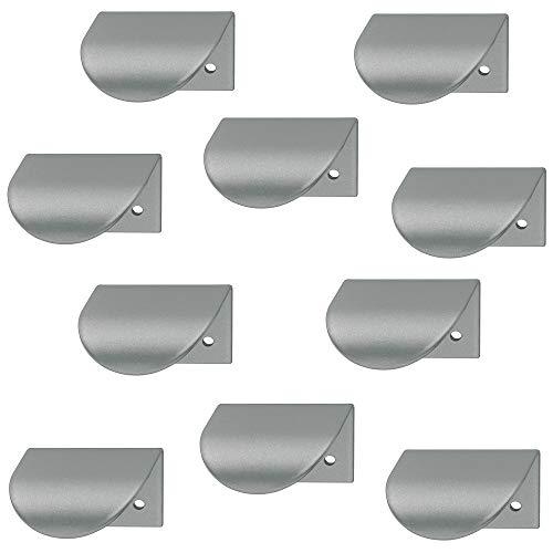 Gedotec Möbelgriff silber Schranktür-Griff Spiegeltür Griffleiste L-Form H10288 | Lochabstand: 32 mm | weiß-aluminium RAL 9006 | 10 Stück - Schrankgriffe gebogen für Schubladen & Küche
