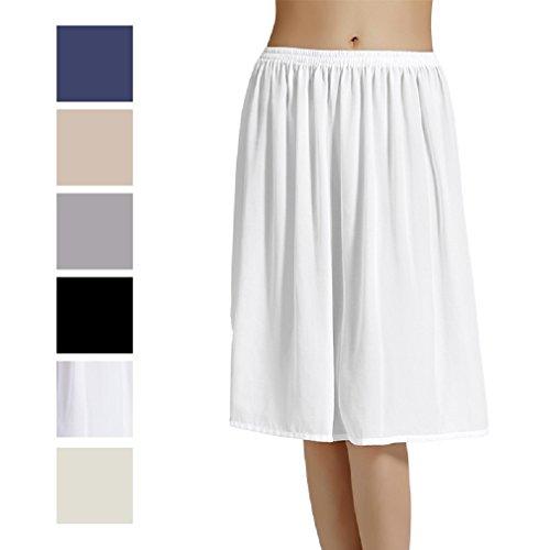 Femme Jupon Lingerie sous-Jupe Robe Mousseline de Soie Blanc Noir Ivoire Court Mi-Long Chiffon pour Marige Fille Nude Bleu Foncé Gris