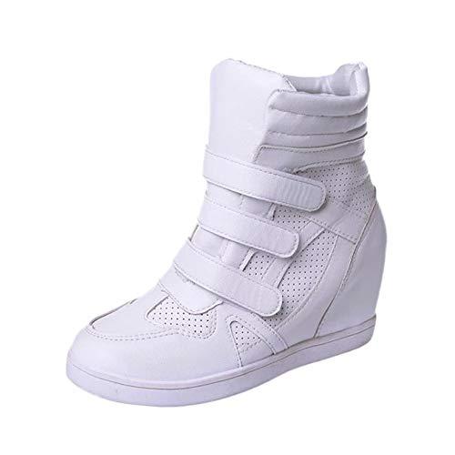 Dragon868 Scarpe Donna Pelle, Sneakers Zeppa Interna Plateau 5.5cm con Strappo Sportive Scarpe a Zeppa 35-39 Invernali