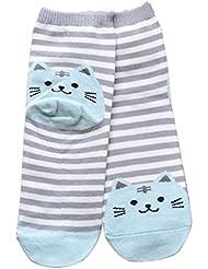 Sannysis® Calcetines animales rayados 3D; Las mujeres gato Huellas Calcetines Suelo (Azul)