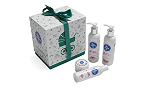 The Moms Co. Baby's Must Have with Ribbon Gift Box, Natural Lotion, Wash, Massage Oil and Diaper Rash Cream