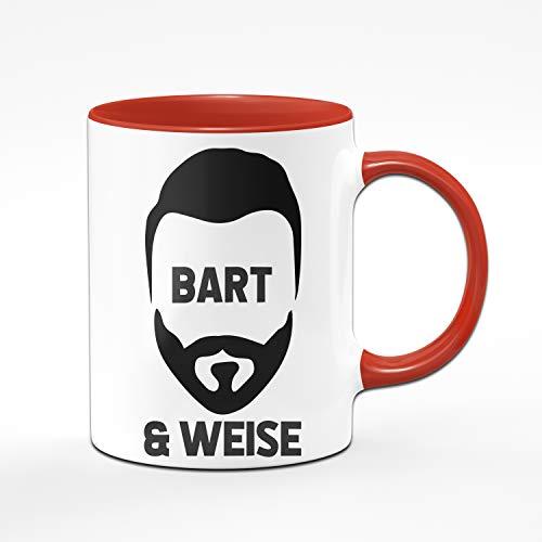 Tasse mit Spruch Bart & Weise, Geburtstagsgeschenk, Geschenk für Männer mit Bart Tassen mit Sprüchen lustig (Rot)