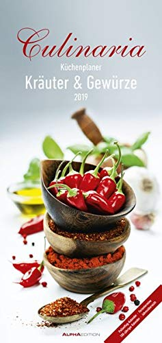 Culinaria 2019 - Kräuter und Gewürze - Küchenplaner (21 x 45) - mit Küchentipps - Wandplaner