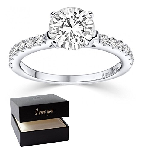 Engagement Rings for Women Swarovski Ring + I love you Ring Box for FREE! Promise Ring for her Silver 925 Cubic ZIRCONIA Ring wedding cz solitaire Sterling like Diamond marry me AM289SS925ZIFA54.UK
