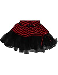 The Dragons Den Childrens Black n Red Mini Minx Tutu Skirt Pleated Or Cyber Party Fancy Dress