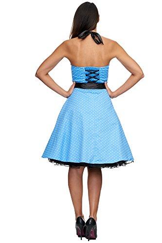 Zarlena, Rockabilly, Vestito vintage con fantasia a pois, con allacciatura al collo Türkis / Weiss mit kleinen Dots