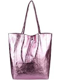 a81a2816d54d2 OBC Made in Italy Damen Tasche Echtes Leder Din-A4 Shopper Tote Bag  Henkeltasche Handtasche…