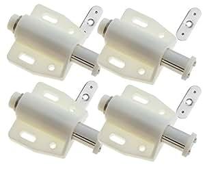 4pièces Blanc poussoir magnétique à ouvrir Système de poulie pour armoire placard tiroir