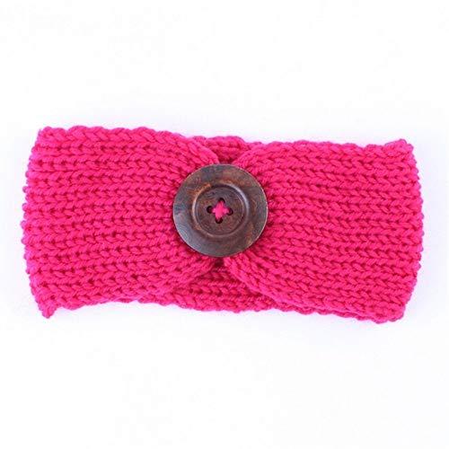 Kfang-headbands, Ohr Winter Warm Button Stirnband Für Neugeborene Turban Häkeln Gestrickte Headwear Kinder Hairband Headwrap Haarband Zubehör (Color : Hot Pink)
