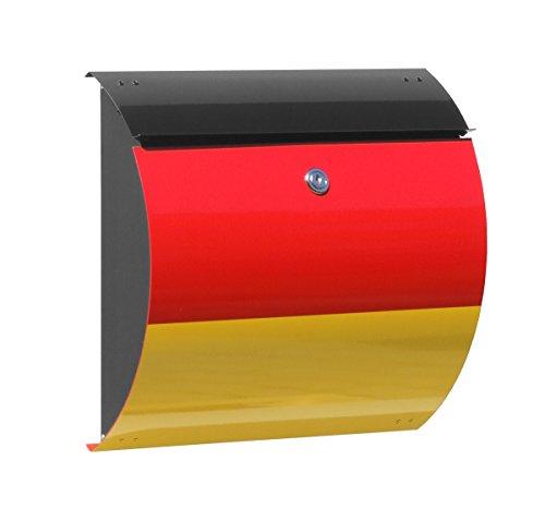 Max Knobloch Briefkasten Honolulu EM schwarz/rot/gelb 10 Liter Wandbriefkasten