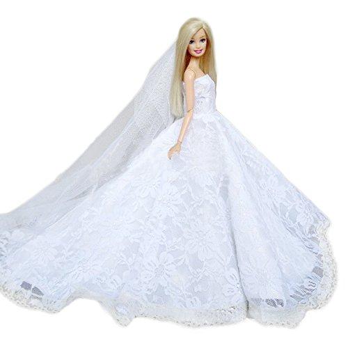 Kleid für Barbie,BEETEST Elegantes feenhaftes Mädchen-Puppen-Spielwaren-weißes Hochzeits-Partei kleidet Kleid-Ausstattungs-Kleidung mit Hauptschleier-Puppen-Zusätzen für Barbie-Spielwaren Kindertag-Geburtstags-Geschenk