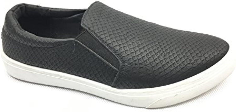 Pep Step Damen Slipper in schwarz weiß mit flacher Sohle Reptiloptik, Schuhgröße:EUR 37