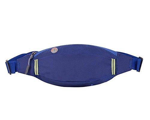 HYSENM Unisex Hüfttasche Bauchtasche Gürteltasche army regendicht kratzfest reißfest Kopfhörerausgang reflektierende Streifen für Wandern Laufen Reisen Blau