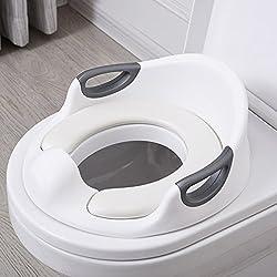 Aerobath Réducteur de Toilette, Siège De Toilette Pour Bébé Avec Coussin Poignée Dossier, Protection contre les éclaboussures, Conception Antidérapants, Réducteur de WC ergonomique(Blanc)