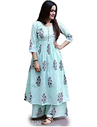 Exclusive Designer Selfie Printed Kurti, Plazzo Cotton Party Wear Dress Long Kurtis