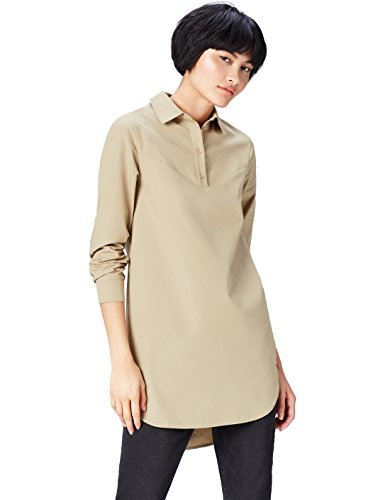 FIND Kleid Damen mit kurzer Knopfleiste und Hemdkragen, Braun (Khaki), 40 (Herstellergröße: Large)