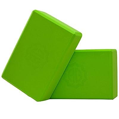 *PRIME DAY SPECIAL* Ahimsa Glow Yogablock 2er Set grün - Yogablöcke aus leichtem EVA-Schaumstoff mit abgeschrägten Kanten für extra Komfort - Trainingshilfe und Unterstützung bei Yogaübungen