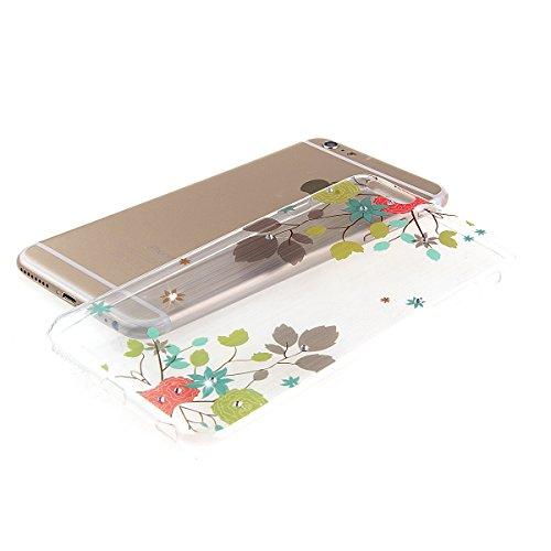 iPhone 5S Transparent Hüllen, Felfy luxus Ultra Slim Bling Shiny Sparkle Diamant Dünnen für Apple iPhone 5/5S Colorful Baum Blatt Muster Weiche Flexible Gel TPU Handy Tasche Back Case Cover Protective Baum Blatt
