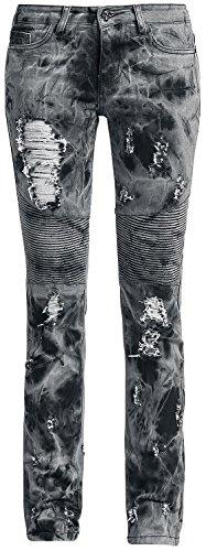 Rock Rebel by EMP Skarlett Acid (Slim Fit) Jeans donna grigio/nero W29L32