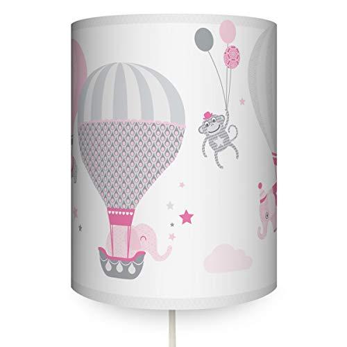 anna wand Wandlampe HOT AIR BALLOONS ROSA/GRAU - Runder Wandlampenschirm mit Stoffkabel zum Aufhängen für Kinder/Baby Lampe mit Heißluftballons - Sanftes Licht im Kinderzimmer Mädchen & Junge