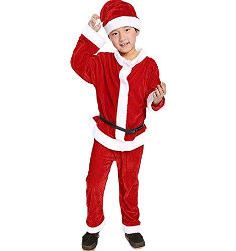 ihnachtsmann Outfits Set mit Mütze Lange Ärmel T-Shirt + Hose + Hut Santa Claus Cosplay Party Kostüm Kinder Weihnachtsmannkostüm (3-4Jahr, Rot) ()