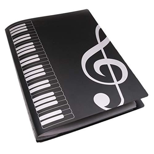 Homyl Musik Tabelle Datei Ordner A4 Größe Dokumente Halter Aufbewahrung Ordner 40 Taschen, Schwarz (Tasche-datei-ordner)