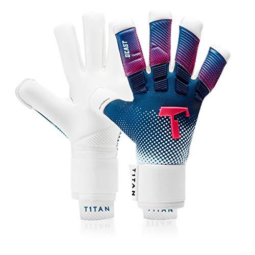 T1TAN Blue Beast Torwarthandschuhe mit Fingerschutz, Tormannhandschuhe Herren & Erwachsene - 4mm Gecko Grip - Gr. 11