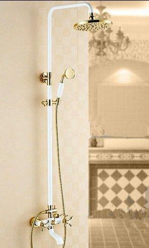 Gowe Euro Stil Weiß Malerei Baked Badezimmer Dusche Wasserhahn Set Dual Golden Griffe Regen Dusche Kopf Wandhalterung (Dual Dusche Regen Kopf)
