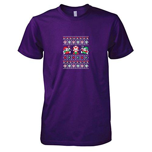 TEXLAB - Toad Christmas - Herren T-Shirt, Größe XXL, violett (Kostüm Mario Fliegenpilz)
