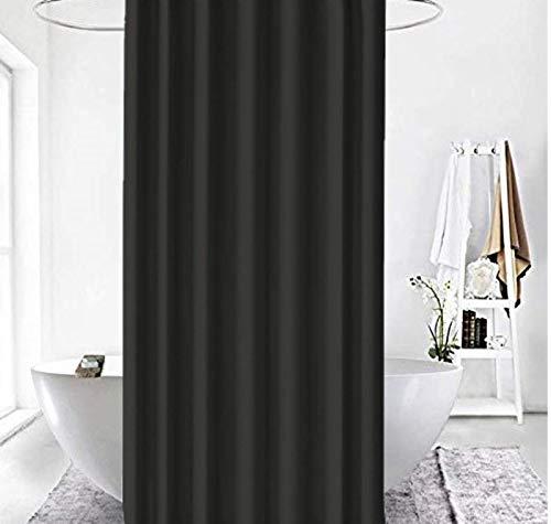 Zethome 180 x 200 cm Schwarz Badvorhänge Original Anti-Schimmel Wasserdicht Waschbar Antibakteriell Polyester Stoff mit Duschvorhangringen Für schöne und Moderne Badewannen. Haken Inklusive