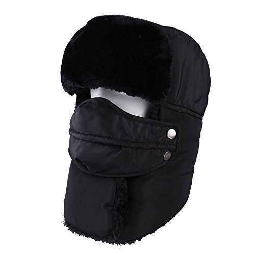 Aiyuda Winter Hat with Ear Flaps Windproof Face Mask Trapper Russian