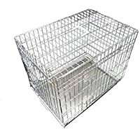 Ellie-Bo Dog Puppy Cage Large 36 inch Silver Folding 2 Door Crate with Non-Chew Metal Tray