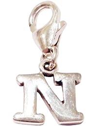 Abalorio de plata de ley con diseño de letra «N», enganche tipo mosquetón