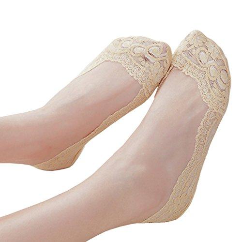 Donna footsies genuini antiscivolo scarpe fodera invisibile 3 paia 2 nude+1 bianco senza sottopiede imbottito