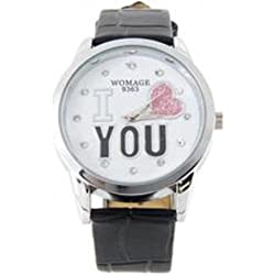 Black 'I Love You' glitter heart leather ladies fashion watch