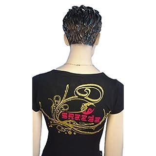 Srazda - Tee-shirt - Femme - COL V Evasé - noir - dessin pailleté doré / velours rouge - Coupe cintrée évasée