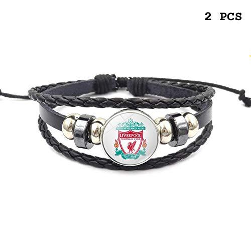 Lorh's store Retro Premier League Fußball Club Abzeichen Perlen gewebt Lederarmband Fußball Sport Armband für Fans 2 Pcs (Liverpool)
